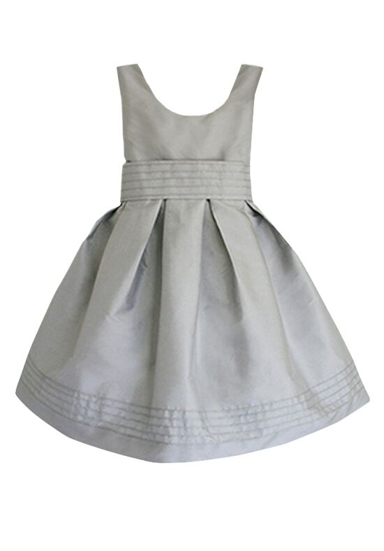 Isabel Garretón Silver Taffeta with Pintuck Sash Silver Flower Girl Dress