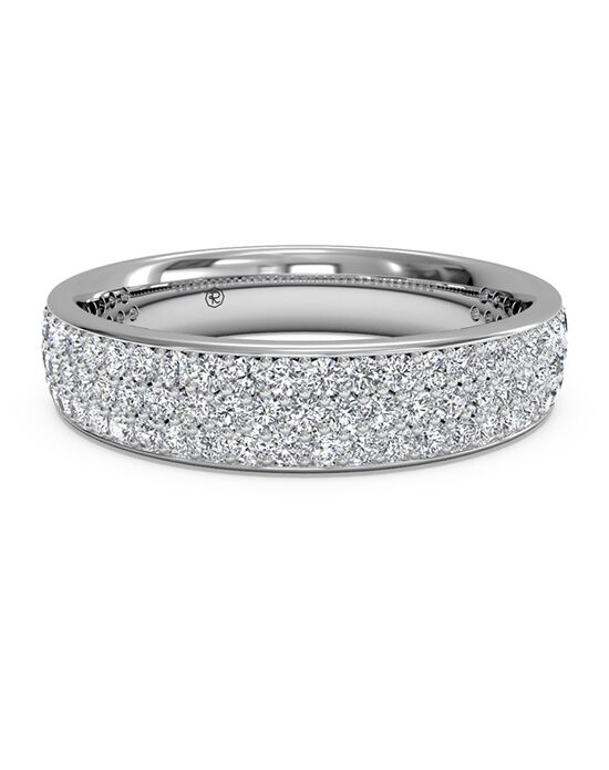Ritani Women's Triple Micropave Diamond Wedding Band - in 14kt White Gold - (0.70 CTW) White Gold Wedding Ring
