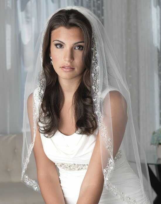 USABride 1-Layer, Paulina Beaded Veil VB-5023 Ivory Veil