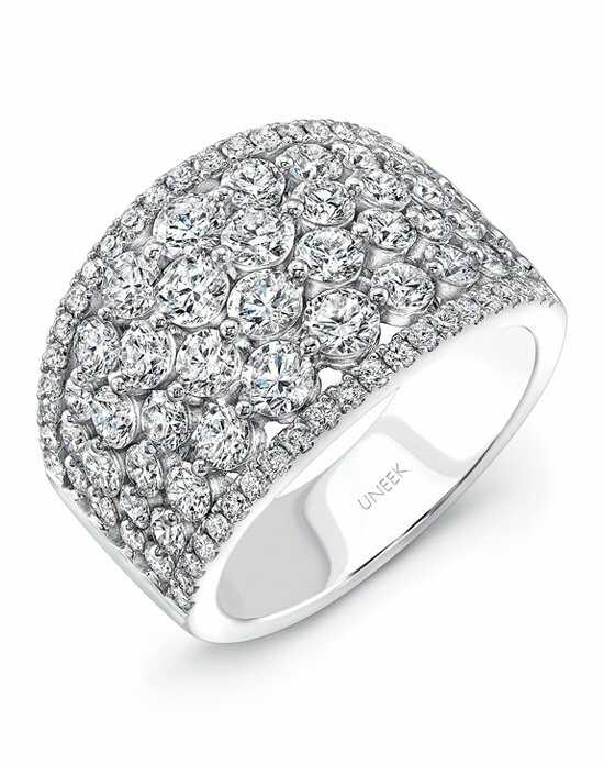 Uneek Fine Jewelry The Frivolite Cluster Diamond Band/LVBW220W White Gold Wedding Ring