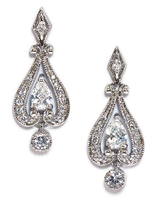 Anna Bellagio LACY VINTAGE ROMANTIC CUBIC ZIRCONIA DROP EARRING Wedding Earring photo