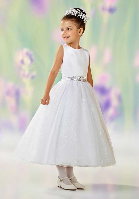 Joan Calabrese by Mon Cheri 118308 White Flower Girl Dress
