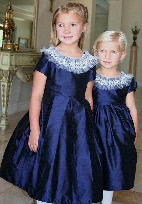 Isabel Garretón Party Blue Flower Girl Dress