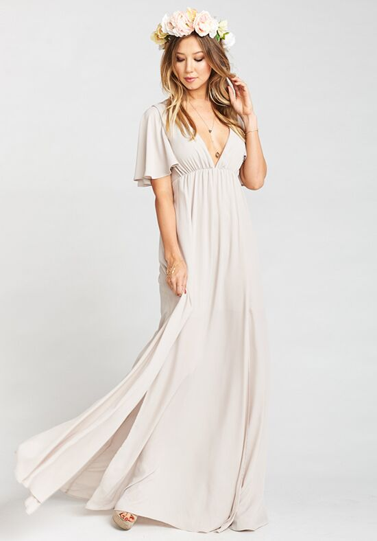 Show Me Your Mumu Faye Flutter Maxi Dress - Show Me the Ring Crisp V-Neck Bridesmaid Dress