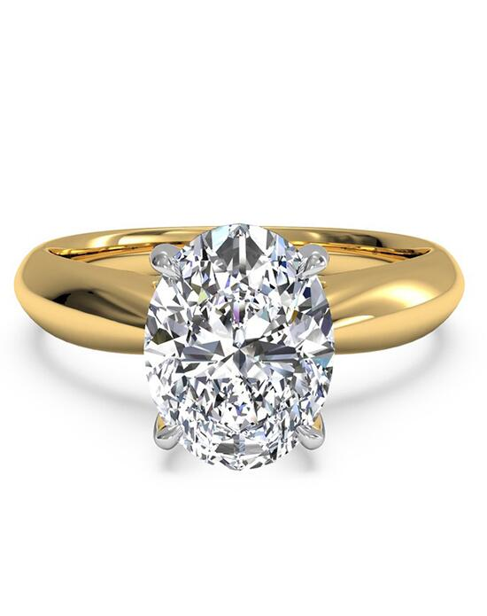 Ritani Solitaire Diamond Tapered Engagement Ring with Surprise Diamonds - in 18kt Yellow Gold (0.04 CTW) for a Oval Center Stone Engagement Ring photo