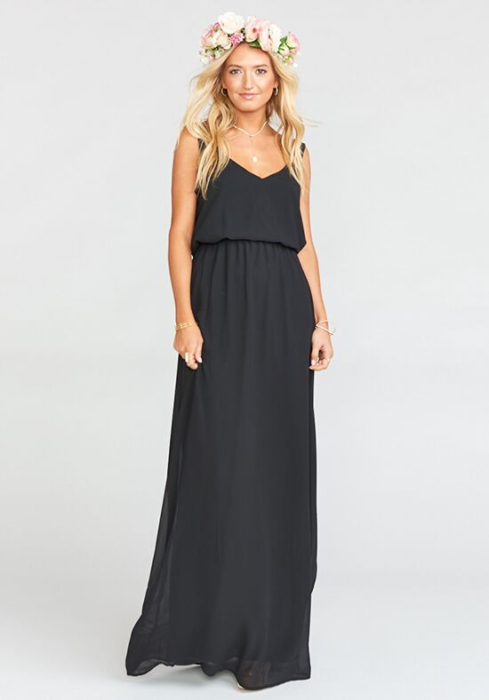 Show Me Your Mumu Kendall Maxi Dress - Black Chiffon V-Neck Bridesmaid Dress