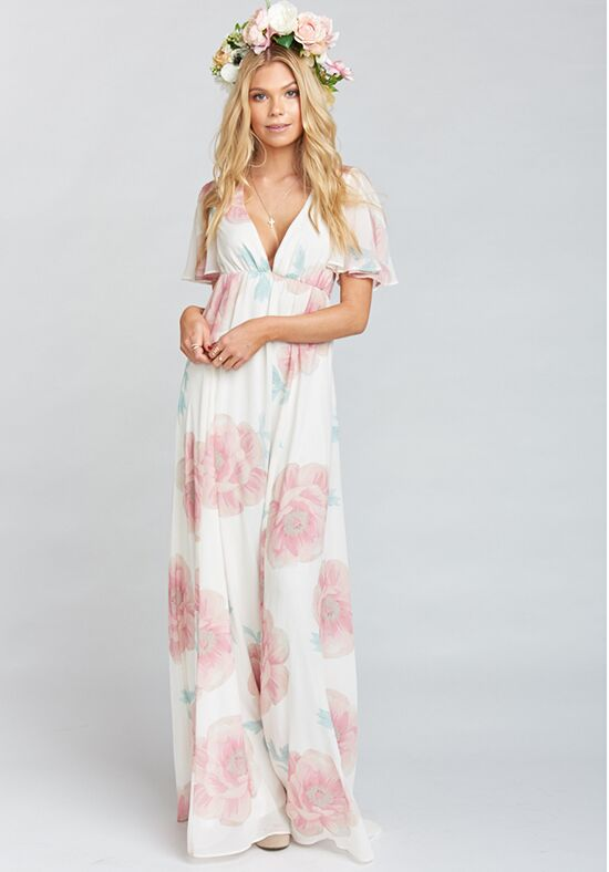 Show Me Your Mumu Faye Flutter Maxi Dress - Wedding Bells Floral V-Neck Bridesmaid Dress