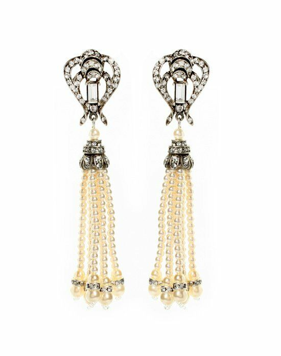Thomas Laine Ben-Amun Belle Epoque Pearl Tassel Earrings Wedding Earring photo