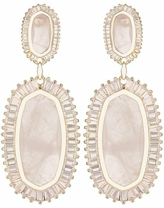 Kendra Scott Kaki Baguette Earrings in Rose Quartz Wedding Earring photo