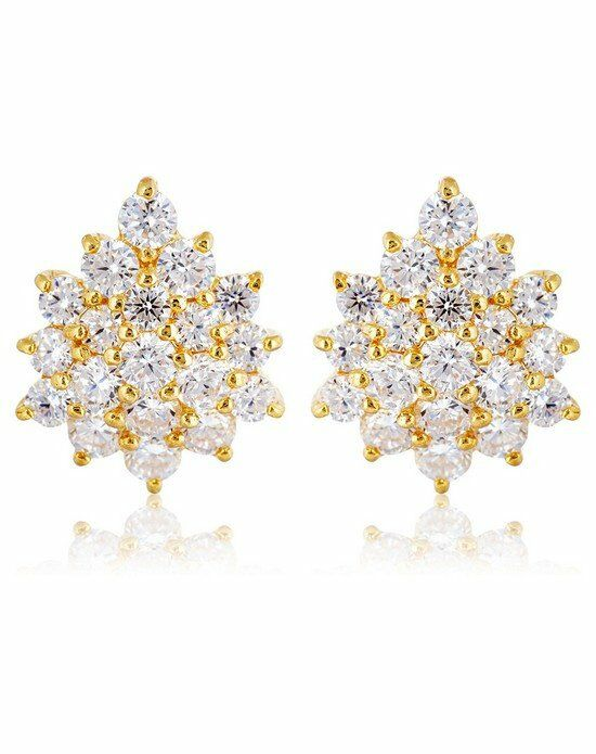 Thomas Laine Grace Cluster Earrings - Yellow Gold Wedding Earring photo