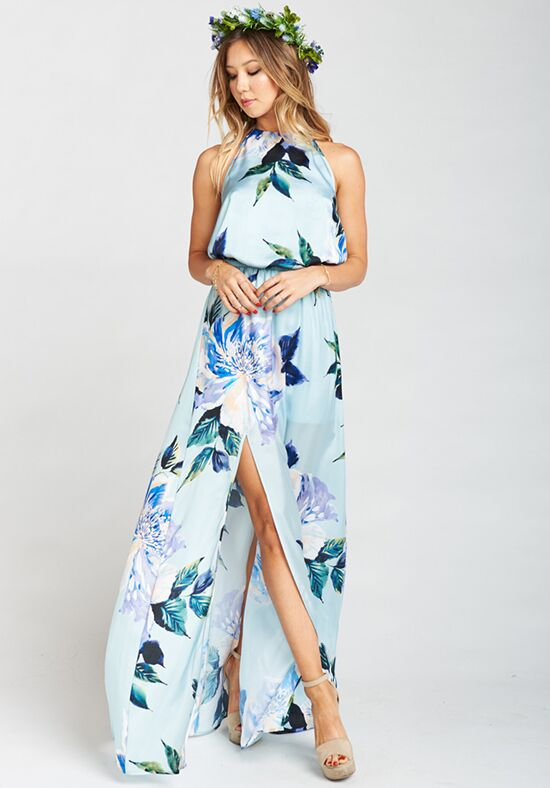 Show Me Your Mumu Heather Halter Dress - Mint To Be Floral Halter Bridesmaid Dress