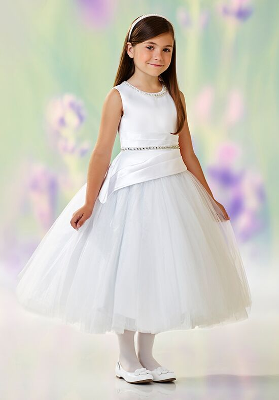 Joan Calabrese by Mon Cheri 118317 White Flower Girl Dress