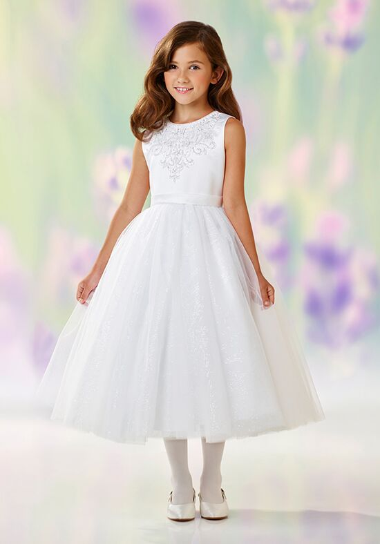 Joan Calabrese by Mon Cheri 118306 White Flower Girl Dress