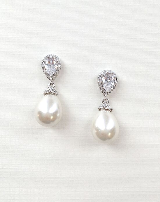 USABride Nina Pearl & CZ Earrings JE-4060 Wedding Earring photo