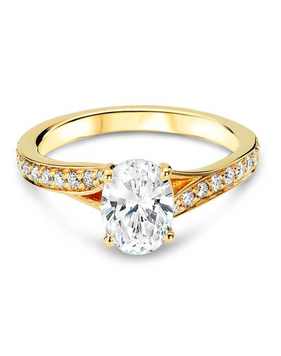 Ritani Modern Bypass Micropavé Diamond Band Engagement Ring - in 18kt Yellow Gold - (0.19 CTW) for a Oval Center Stone Engagement Ring photo