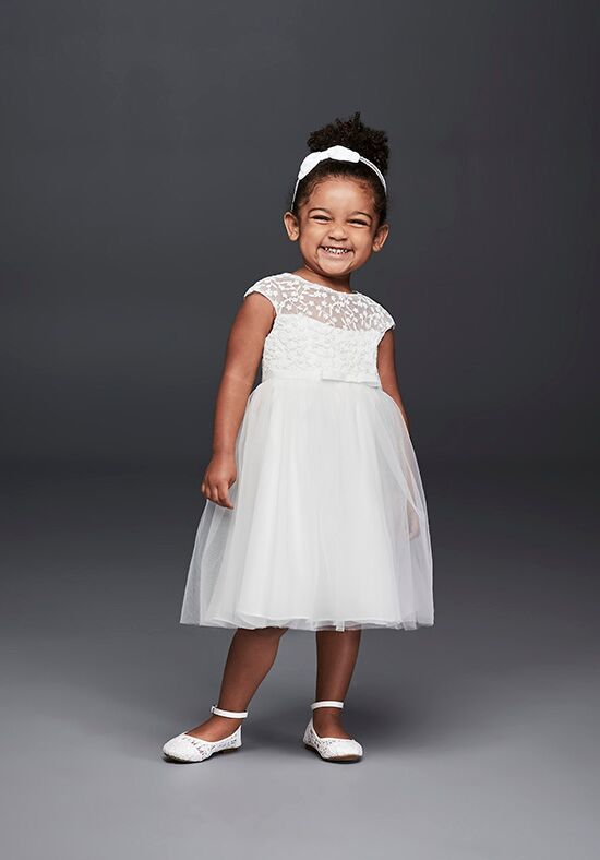 David's Bridal Flower Girl WG1375 White Flower Girl Dress
