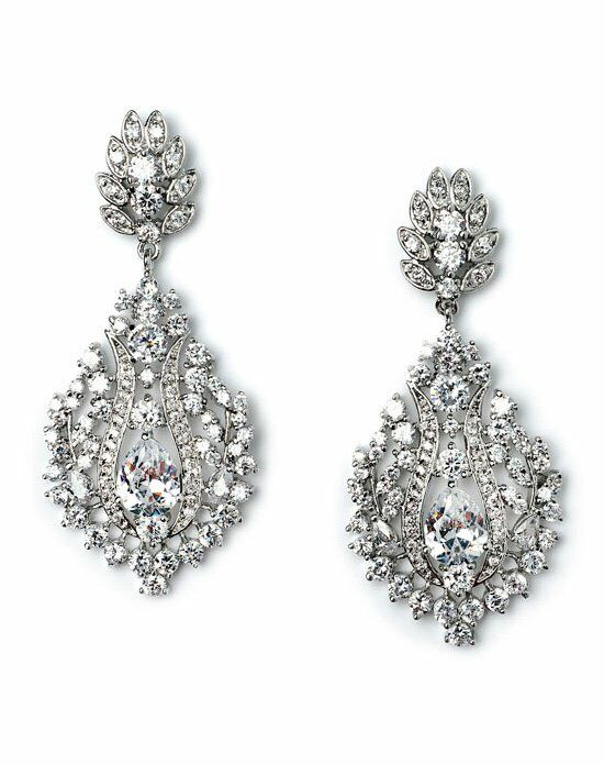 USABride Fleur-de-lis CZ Earrings JE-1527 Wedding Earring photo