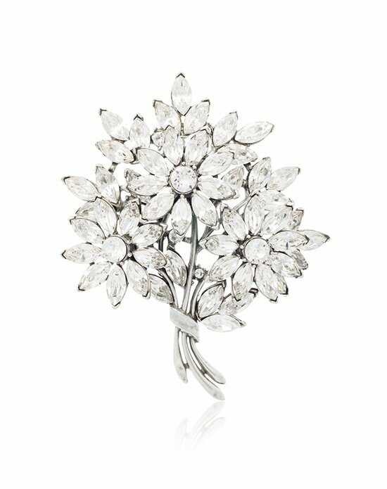 Thomas Laine Large Floral Bouquet Crystal Brooch Silver