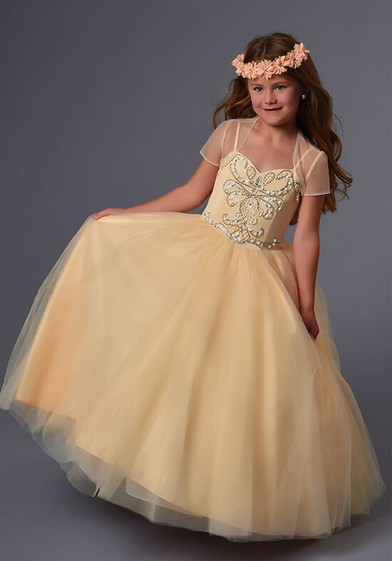 Cupids by Mary's F568 Champagne Flower Girl Dress