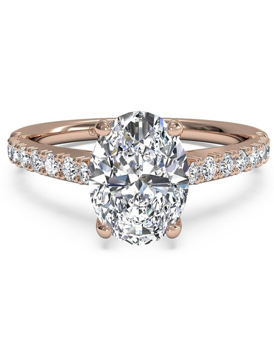 Ritani French Set Diamond Band Engagement Ring in 18kt Rose Gold 0 23 CTW