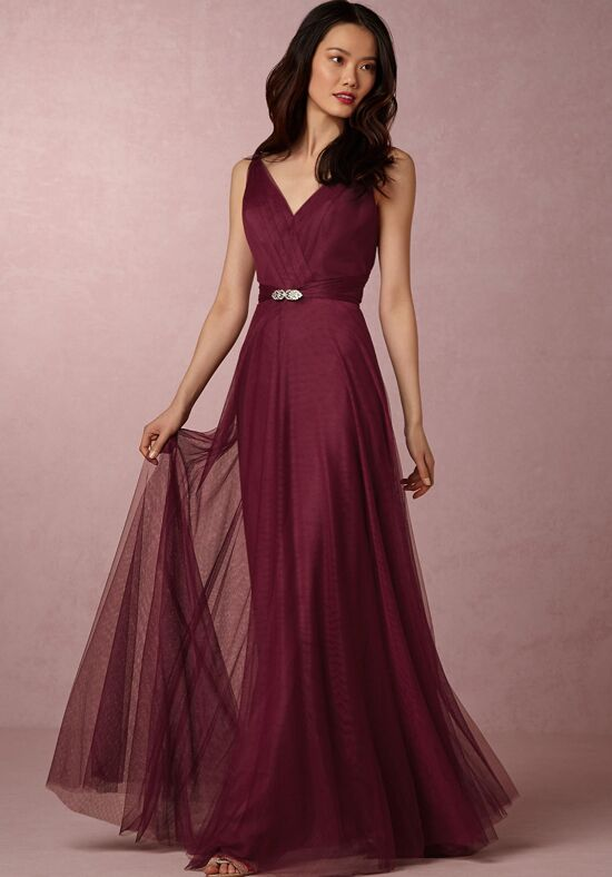 Bhldn Bridesmaids Zaria Dress Black Cherry V Neck Bridesmaid