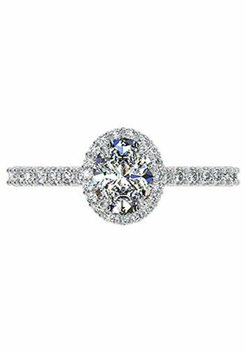 Ritani Oval Cut French Set Halo Diamond Band Engagement Ring in Platinum Enga