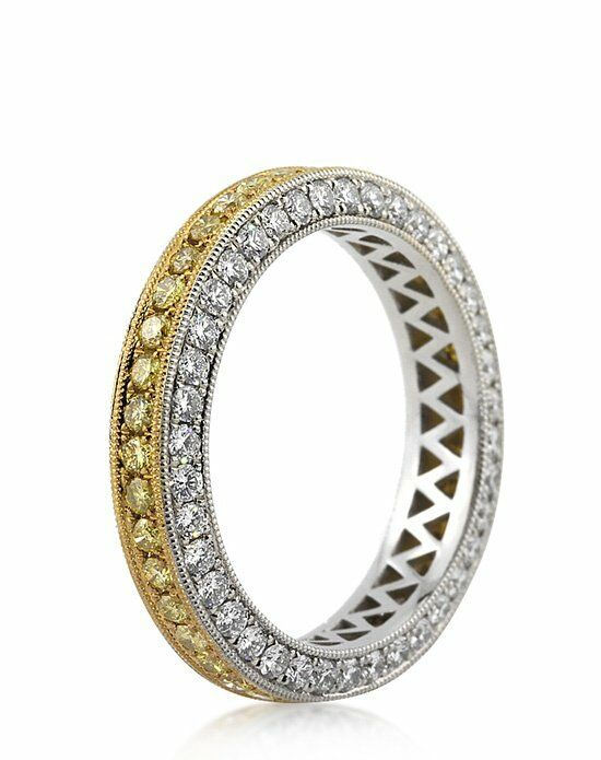 Mark Broumand 2.00ct Fancy Yellow Round Brilliant Cut Diamond Eternity Band Platinum Wedding Ring