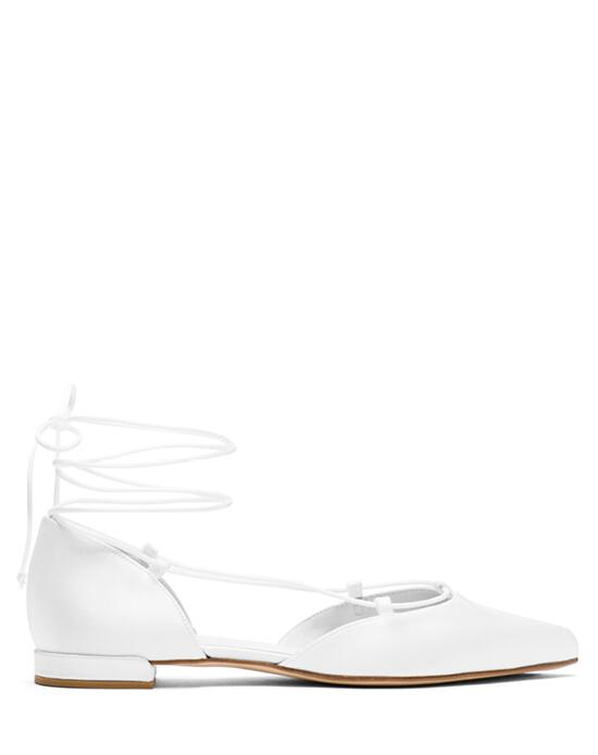 Stuart Weitzman Gilligan Flat Bridal  White Satin Wedding  photo