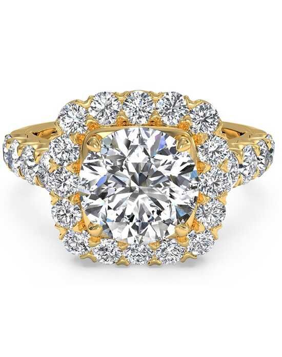 Ritani Masterwork Cushion Halo Diamond Band Engagement Ring - in 18kt Yellow Gold - (0.75 CTW) for a Round Center Stone Engagement Ring photo