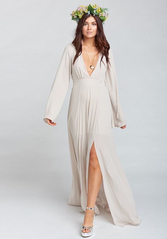 Show Me Your Mumu Venus Long Sleeve Flare Dress - Show Me the Ring Crisp V-Neck Bridesmaid Dress