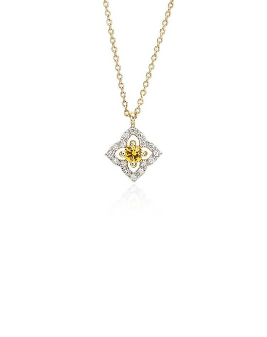 Blue Nile Petite Yellow Sapphire Floral Pendant Wedding Necklace photo