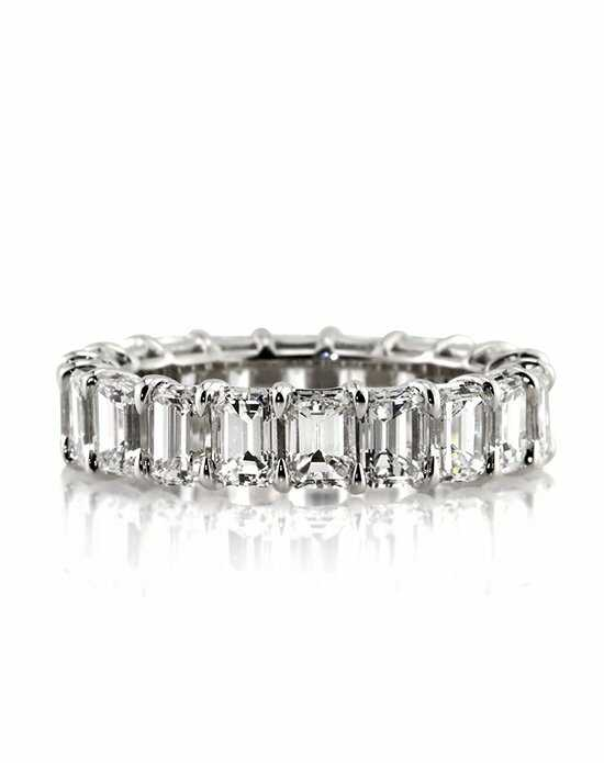 Mark Broumand 4.75ct Emerald Cut Diamond Eternity Band White Gold Wedding Ring