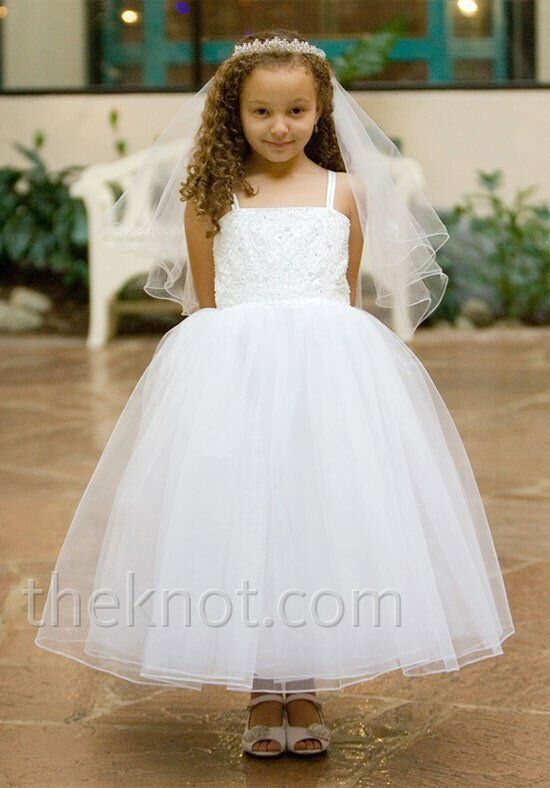 Pink Princess D8037 White Flower Girl Dress