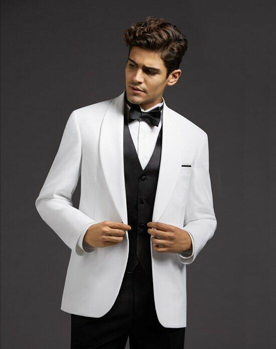 Men's Wearhouse White Shawl Lapel Dinner Jacket Wedding Tuxedos + Suit photo