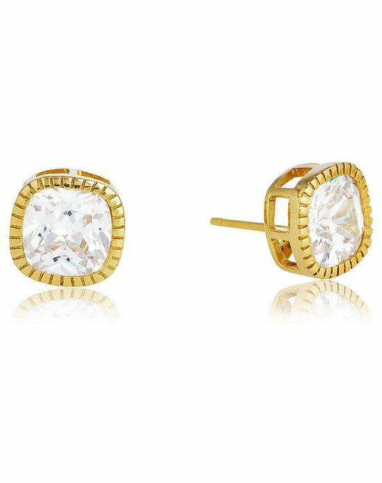 Thomas Laine Lucille Cushion Cut Stud Earrings - Yellow Gold Wedding Earring photo