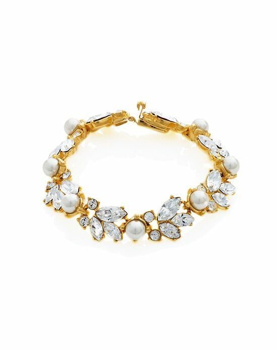 Thomas Laine Ben-Amun Bridal Gold Pearl and Floral Crystal Bracelet Wedding Bracelet photo