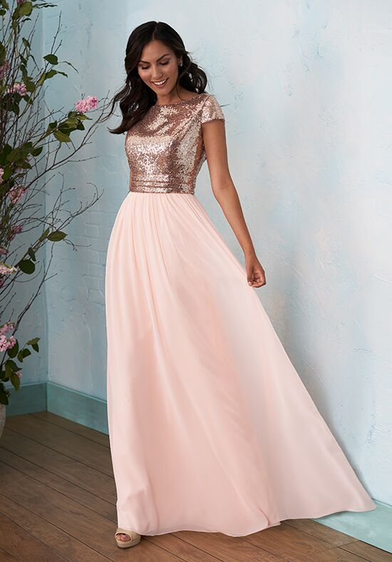 B2 by Jasmine B203012 Bateau Bridesmaid Dress