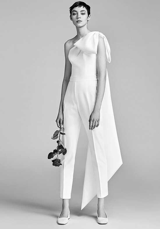 One shoulder wedding dresses viktorrolf mariage one shoulder bow jumpsuit junglespirit Choice Image