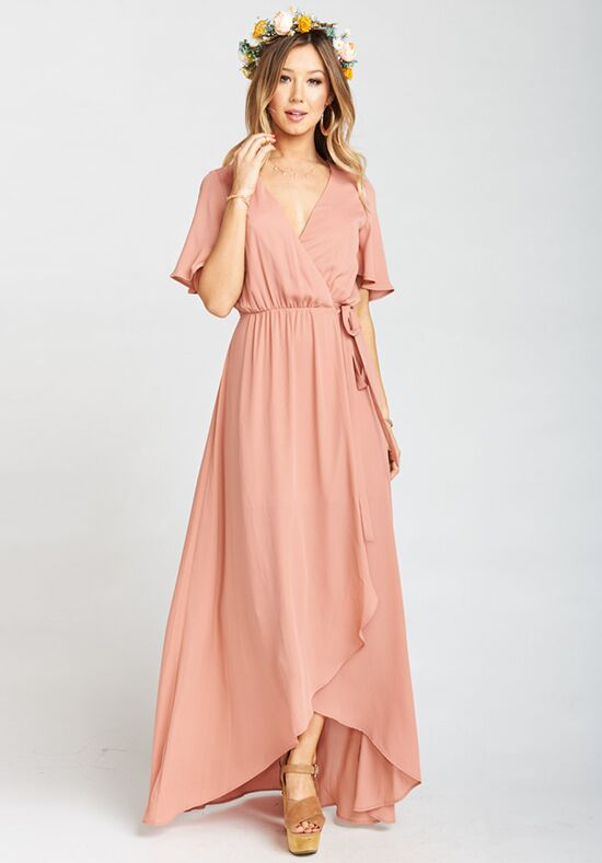 Show Me Your Mumu Sophia Wrap Dress - Rustic Mauve Crisp V-Neck Bridesmaid Dress