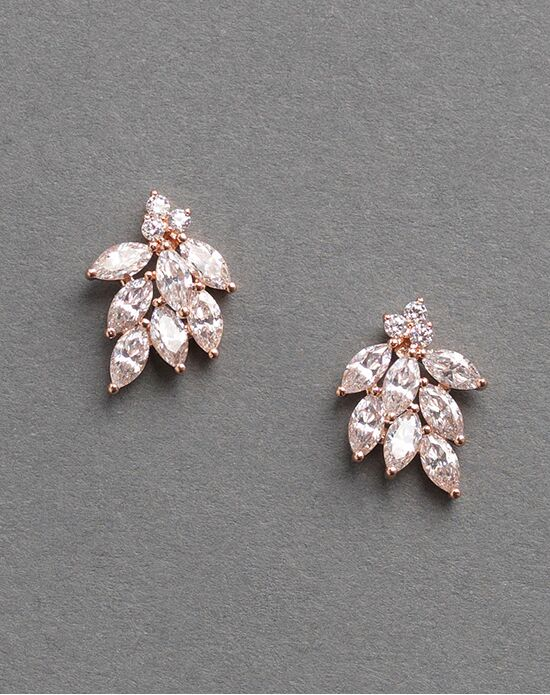 Dareth Colburn Mia Fl Rose Gold Cz Earrings Wedding Earring Photo