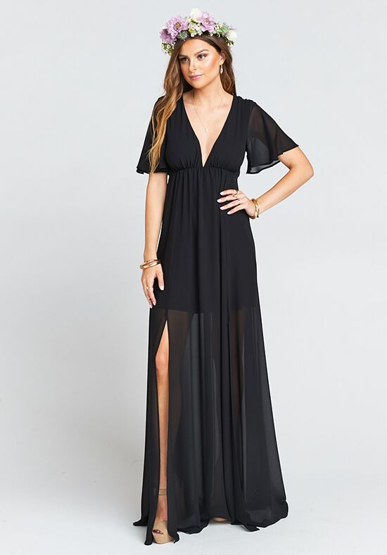 Show Me Your Mumu Faye Flutter Maxi Dress - Black Chiffon V-Neck Bridesmaid Dress