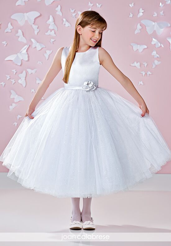 Joan Calabrese by Mon Cheri 117342 White Flower Girl Dress