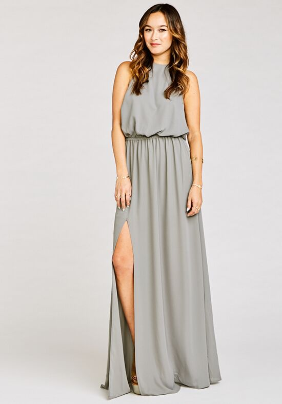 Show Me Your Mumu Heather Halter Dress - Soft Charcoal Crisp Halter Bridesmaid Dress