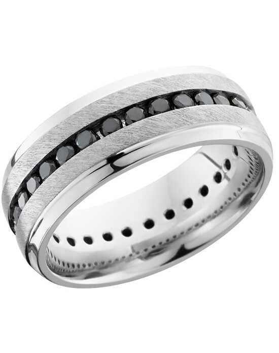 Platinum Jewelry Lashbrook PLAT8B(S)ETERNITYBLKDIA ANGLE SATIN-POLISH Platinum Wedding Ring
