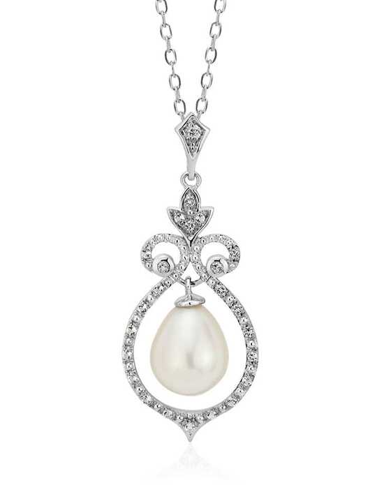 Blue Nile Floating Freshwater Pearl in White Topaz Swirl Pendant Wedding Necklace photo
