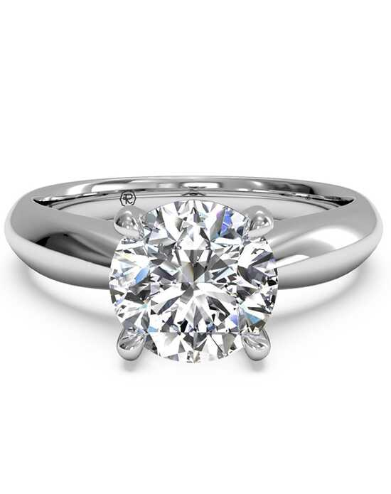 Ritani Solitaire Diamond Tapered Engagement Ring with Surprise Diamonds - in 14kt White Gold - (0.04 CTW) for a Round Center Stone Engagement Ring photo