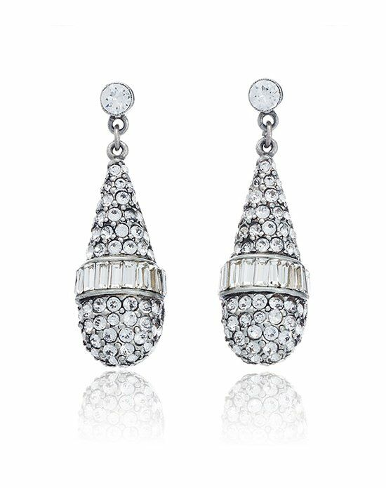 Thomas Laine Ben-Amun Bridal Briolette Crystal Drop Earrings Wedding Earring photo