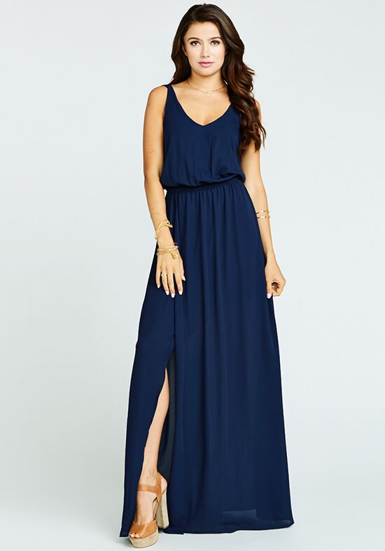 Show Me Your Mumu Kendall Maxi Dress - Rich Navy Crisp V-Neck Bridesmaid Dress