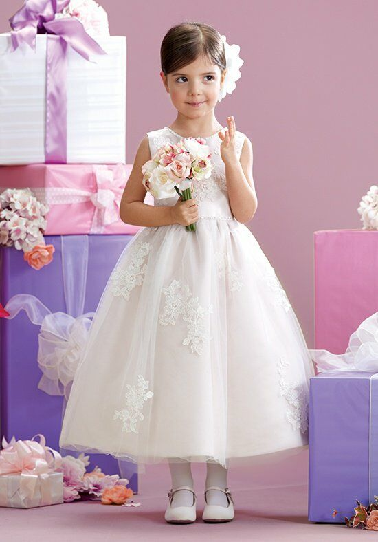 Joan Calabrese by Mon Cheri 215341 Pink Flower Girl Dress
