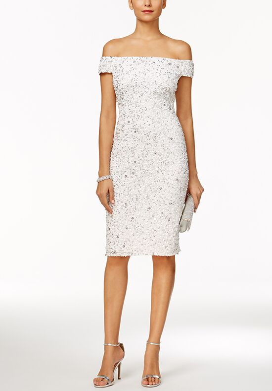 Adrianna Papell Wedding Dresses Adrianna Papell Off-The-Shoulder Beaded Sheath Dress Sheath Wedding Dress